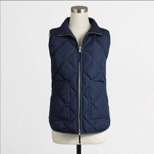 ✨J.crew quilted navy blue puffer vest